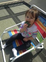 Siyona eating eggs