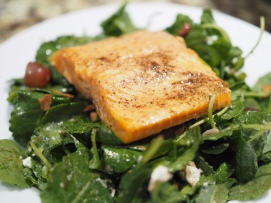 Salmon over Baby Kale Salad