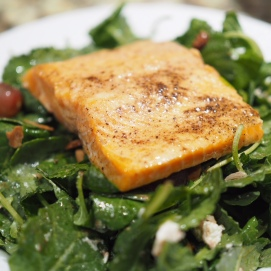 Salmon over Baby Kale Salad